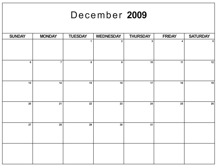 December 2009 Calendar Printable | newhairstylesformen2014.com